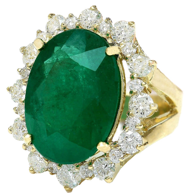 18.59 Carat Natural Emerald 14K Solid Yellow Gold Diamond Ring