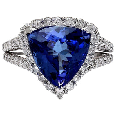 7.07 Carat Natural Tanzanite 14K Solid White Gold Diamond Ring