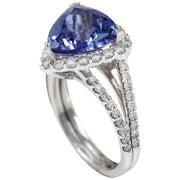 7.07 Carat Natural Tanzanite 14K Solid White Gold Diamond Ring - Fashion Strada