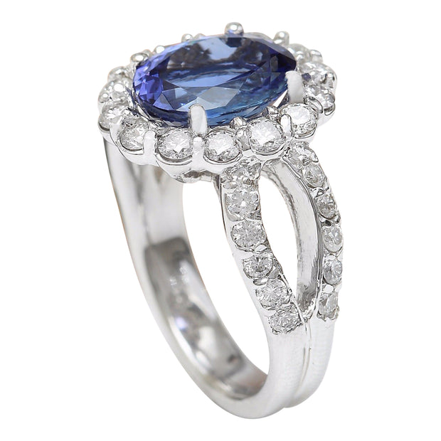 5.32 Carat Natural Tanzanite 14K Solid White Gold Diamond Ring