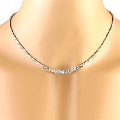 15.00 Carat Natural Diamond 14K Solid White Gold Necklace