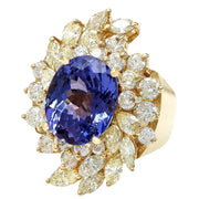 10.73 Carat Natural Tanzanite 14K Solid Yellow Gold Diamond Ring