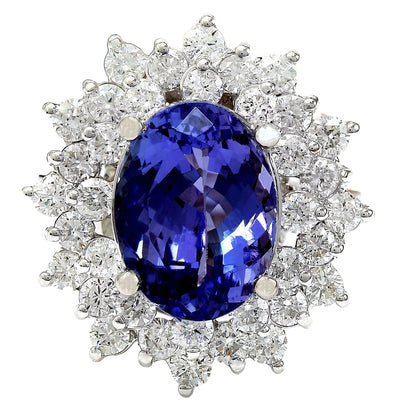 7.47 Carat Natural Tanzanite 14K Solid White Gold Diamond Ring - Fashion Strada