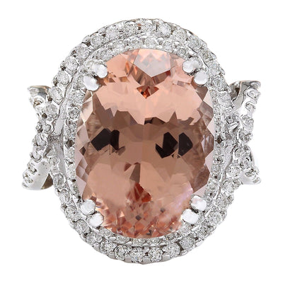 14.10 Carat Natural Morganite 14K Solid White Gold Diamond Ring