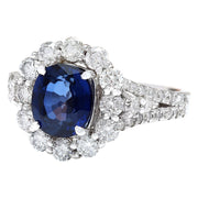 3.23 Carat Natural Sapphire 14K Solid White Gold Diamond Ring - Fashion Strada