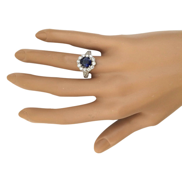 3.23 Carat Natural Sapphire 14K Solid White Gold Diamond Ring