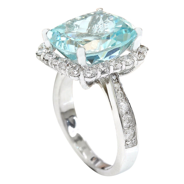 9.80 Carat Natural Aquamarine 14K Solid White Gold Diamond Ring - Fashion Strada