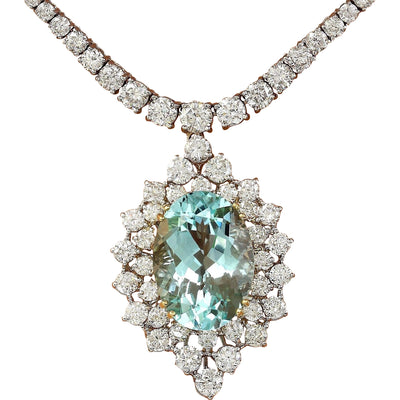 22.00 Carat Natural Aquamarine 14K Solid White Gold Diamond Necklace