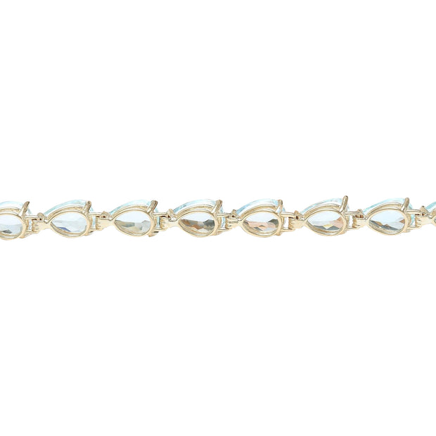 25.00 Carat Natural Aquamarine 14K Solid Yellow Gold Bracelet - Fashion Strada