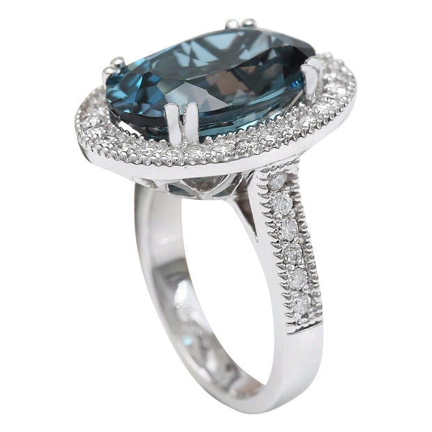 11.91 Carat Natural Topaz 14K Solid White Gold Diamond Ring - Fashion Strada