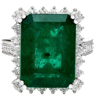 11.13 Carat Natural Emerald 14K Solid White Gold Diamond Ring - Fashion Strada