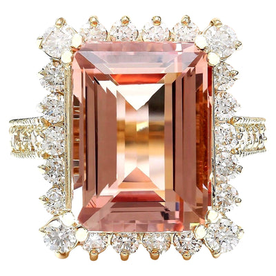 11.29 Carat Natural Morganite 14K Solid Yellow Gold Diamond Ring