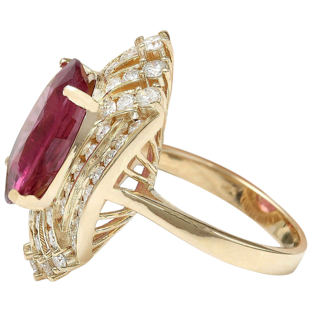 8.33 Carat Natural Tourmaline 14K Solid Yellow Gold Diamond Ring