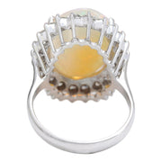 7.59 Carat Natural Opal 14K Solid White Gold Diamond Ring - Fashion Strada