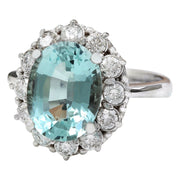 4.70 Carat Natural Aquamarine 14K Solid White Gold Diamond Ring - Fashion Strada
