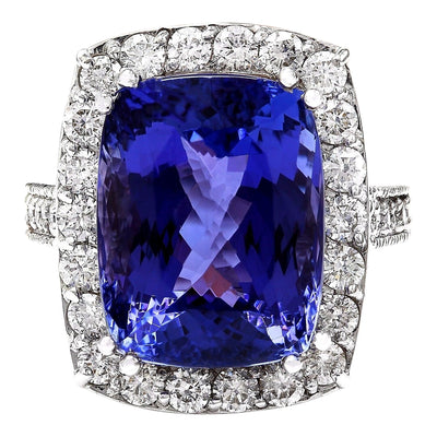 17.53 Carat Natural Tanzanite 14K Solid White Gold Diamond Ring