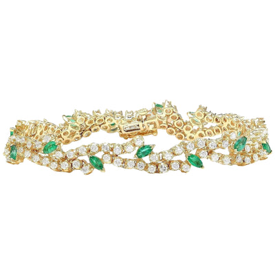 8.00 Carat Natural Emerald 14K Solid Yellow Gold Diamond Bracelet