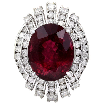 14.20 Carat Natural Tourmaline 14K Solid White Gold Diamond Ring