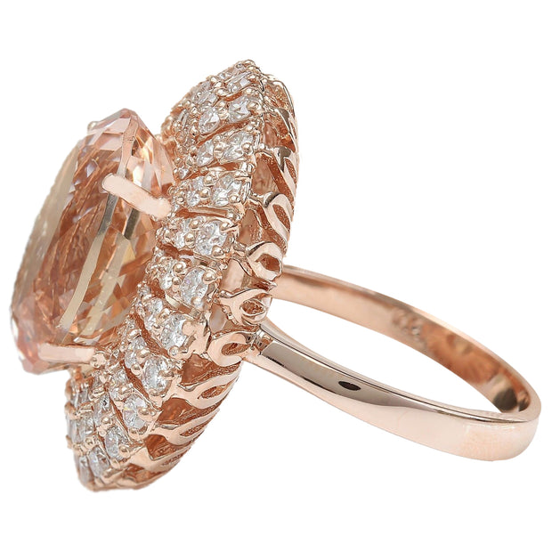12.85 Carat Natural Morganite 14K Solid Rose Gold Diamond Ring