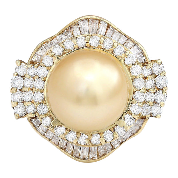 14.08 mm Gold South Sea Pearl 14K Solid Yellow Gold Diamond Ring - Fashion Strada
