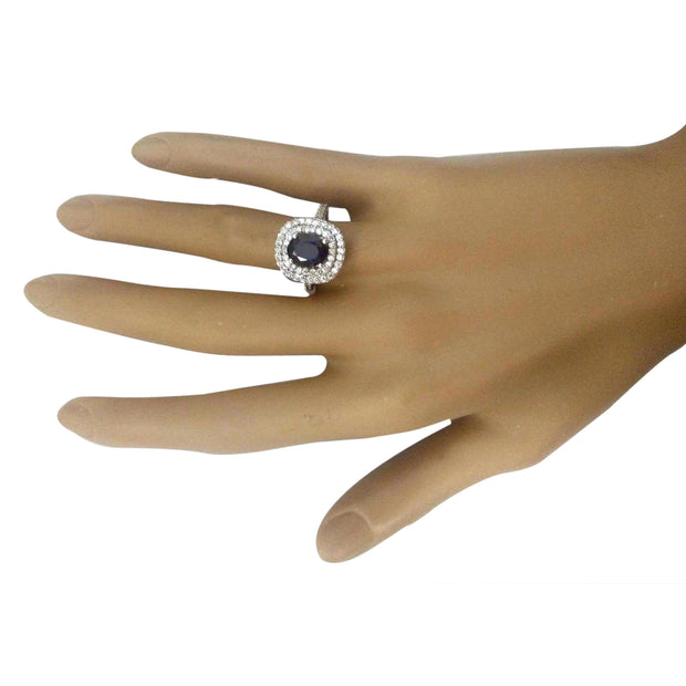 3.48 Carat Natural Sapphire 14K Solid White Gold Diamond Ring - Fashion Strada