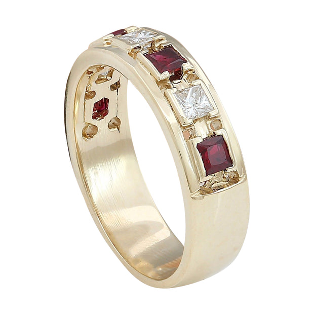 1.30 Carat Natural Ruby 14K Solid Yellow Gold Diamond Ring