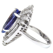 8.94 Carat Natural Tanzanite 14K Solid White Gold Diamond Ring