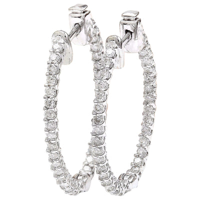 1.75 Carat Natural Diamond 14K Solid White Gold Earrings - Fashion Strada