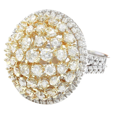 4.28 Carat Natural Diamond 14K Solid Two Tone Gold Ring
