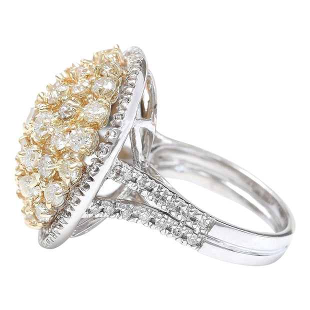 4.28 Carat Natural Diamond 14K Solid Two Tone Gold Ring - Fashion Strada