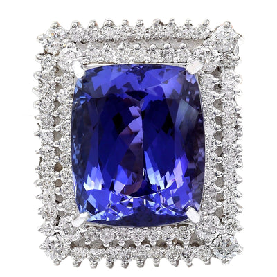 21.58 Carat Natural Tanzanite 14K Solid White Gold Diamond Ring