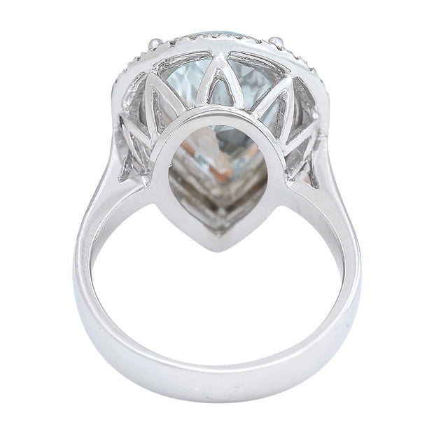 5.30 Carat Natural Aquamarine 14K Solid White Gold Diamond Ring - Fashion Strada