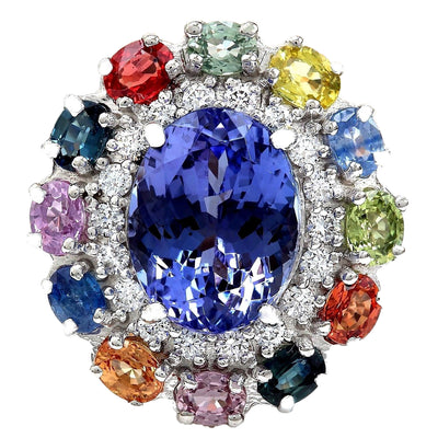 10.76 Carat Natural Tanzanite, Sapphire 14K Solid White Gold Diamond Ring
