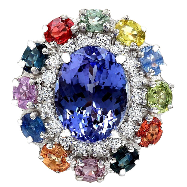 10.76 Carat Natural Tanzanite, Sapphire 14K Solid White Gold Diamond Ring - Fashion Strada