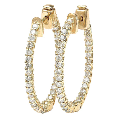 1.75 Carat Natural Diamond 14K Solid Yellow Gold Earrings - Fashion Strada