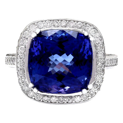 12.07 Carat Natural Tanzanite 14K Solid White Gold Diamond Ring