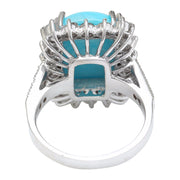 9.36 Carat Natural Turquoise 14K Solid White Gold Diamond Ring - Fashion Strada
