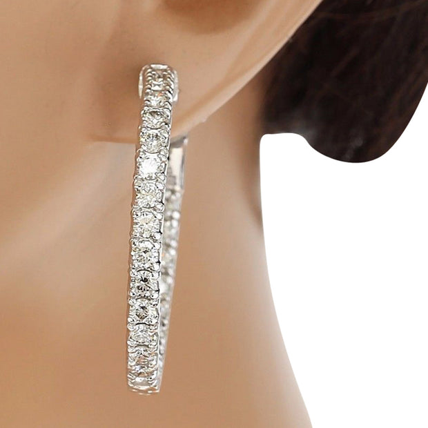 3.50 Carat Natural Diamond 14K Solid White Gold Earrings - Fashion Strada