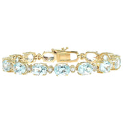 29.85 Carat Natural Aquamarine 14K Solid Yellow Gold Diamond Bracelet - Fashion Strada