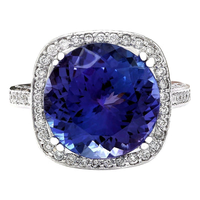 14.79 Carat Natural Tanzanite 14K Solid White Gold Diamond Ring