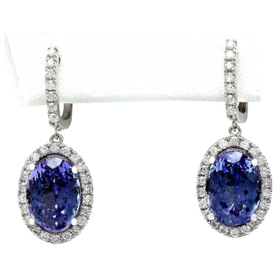 12.30 Carat Natural Tanzanite 14K Solid White Gold Diamond Earrings