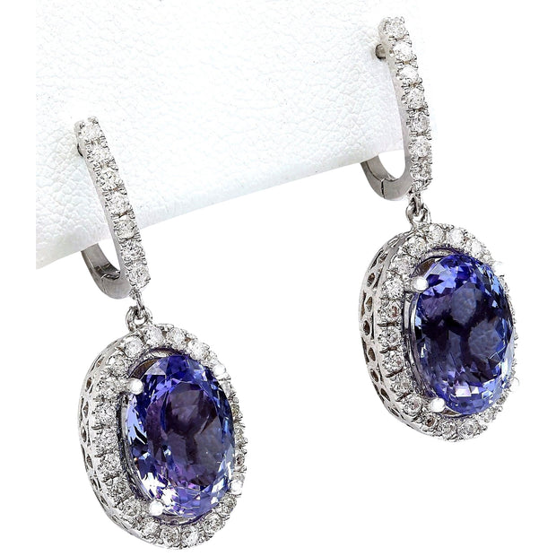 12.30 Carat Natural Tanzanite 14K Solid White Gold Diamond Earrings - Fashion Strada