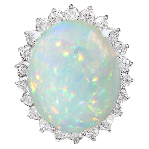 14.41 Carat Natural Opal 14K Solid White Gold Diamond Ring