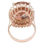 16.60 Carat Natural Morganite 14K Solid Rose Gold Diamond Ring - Fashion Strada