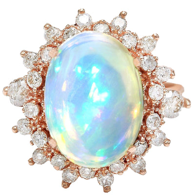 4.95 Carat Natural Opal 14K Solid Rose Gold Diamond Ring