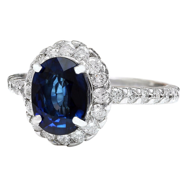 3.20 Carat Natural Sapphire 14K Solid White Gold Diamond Ring