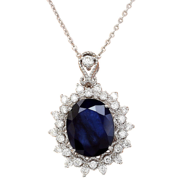 5.25 Carat Natural Sapphire 14K Solid White Gold Diamond Pendant Necklace - Fashion Strada