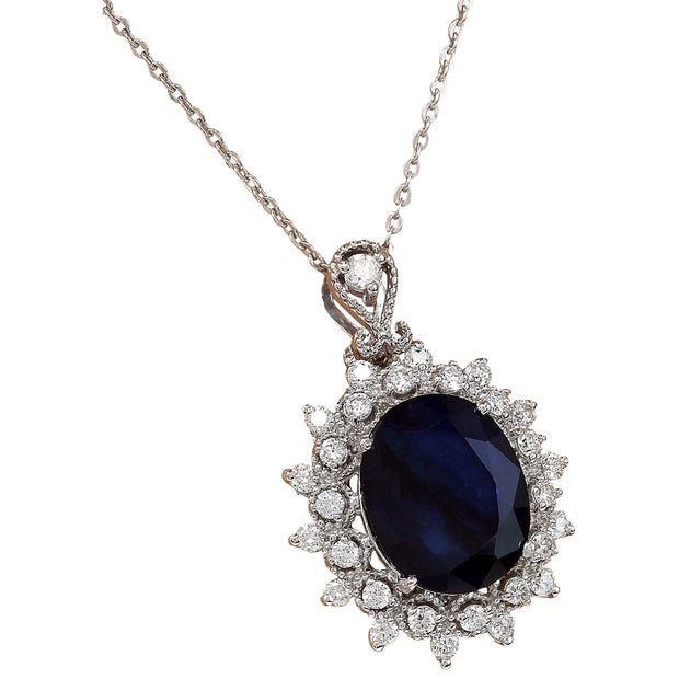 5.25 Carat Natural Sapphire 14K Solid White Gold Diamond Pendant Necklace