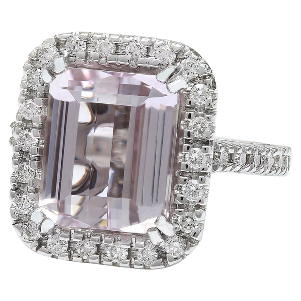 9.04 Carat Natural Kunzite 14K Solid White Gold Diamond Ring