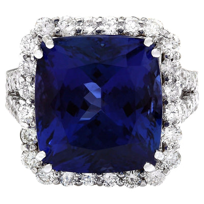 16.92 Carat Natural Tanzanite 14K Solid White Gold Diamond Ring